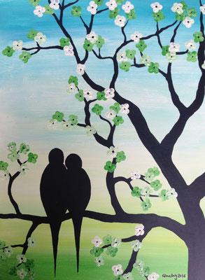 cherry blossom birds blue, 30*40 cm, Acryl auf Karton, inkl. Passepartout, datiert, signiert, Unikat, 120 €