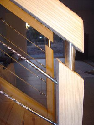 escalier filins bois