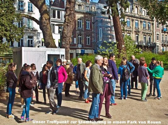 Notre point de rendez-vous au Square Verdrel à Rouen