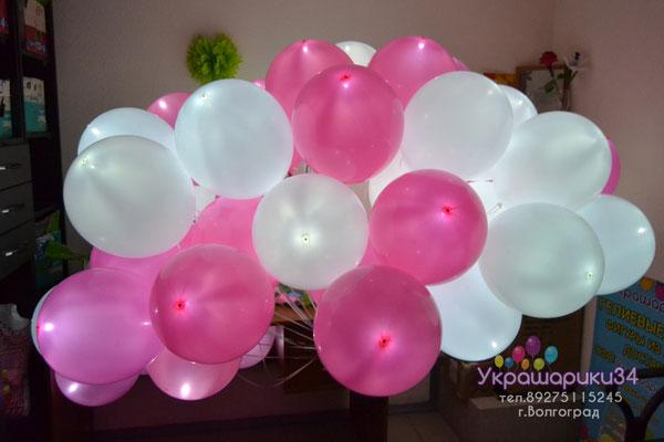 белые и шары фуксия с белым диодом