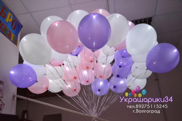 розовые, белые и сиреневые шары с белым диодом