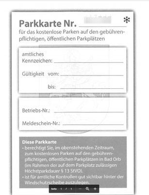 Parkkarte kostenlos zur Gästekarte