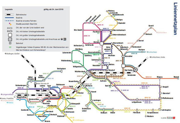 KVG Main-Kinzig - Liniennetzplan