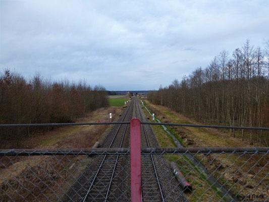 Auf der alten Eisenbahnbrücke (abgerissen im März 2020) im Schenkenwald, Blick Richtung Mochenwangen