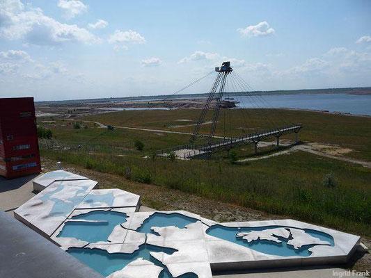 Der entstehende Großräschener See im Lausitzer Seenland nahe Cottbus