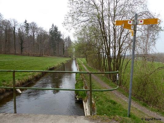 Der Kanal oberhalb der Wolfegger Ach beim Waldbad Richtung Baienfurt gesehen