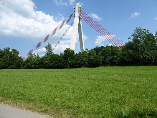Blick zur Autobahnbrücke über die Argen