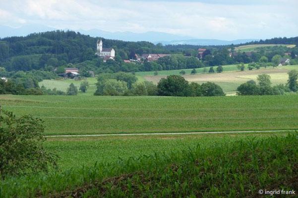 Blick auf Roggenbeuren in Richtung Alpen