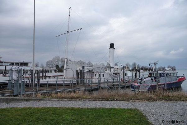 """Die """"Hohentwiehl"""", das einzige Dampfschiff auf dem Bodensee,  im Winterquartier in ihrem Heimathafen Hard"""