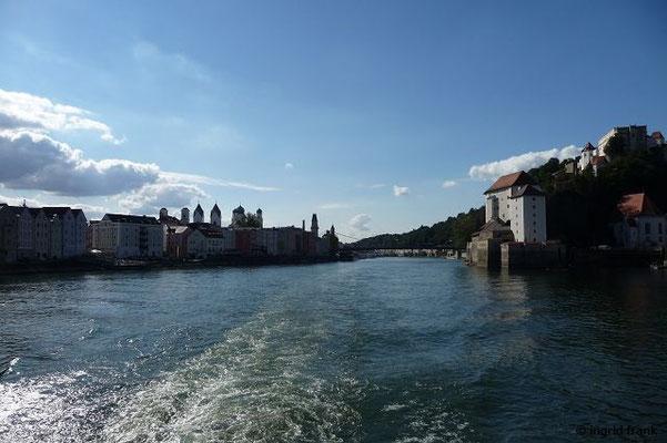 Die Mündung der Ilz in die Donau