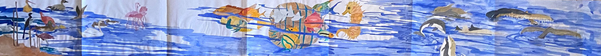 Wasserlandschaft, Shihab Vaippipadath, undatiert, Aquarell, Papier, 210x21cm, ID1751