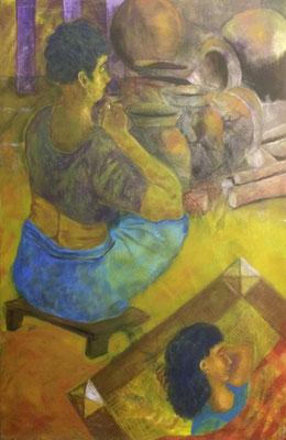 Sick girl, Shihab Vaippipadath, 2001, Titanium, Acrylic, Leinwand, 80x121cm, ID1283