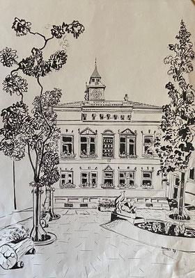 Sandhausen Altes Rathaus I, Shihab Vaippipadath, 2001, Zeichnung, Papier, 30,5x43cm, ID1739