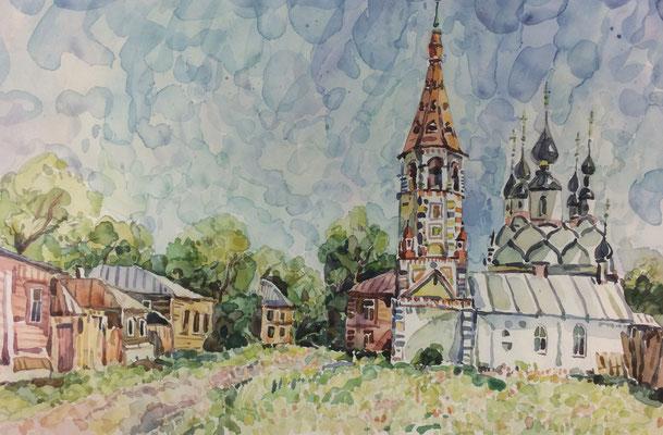 Russisches Dorf mit Kirche, Alexandr Zlatkin, undatiert, Aquarell, Papier, 40,5x26,5cm, ID1395