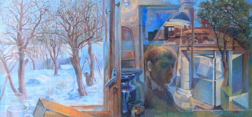 Reflection, Vladimir Skripnik, 2015, tempera oil, canvas on carton, 46,5x97,5