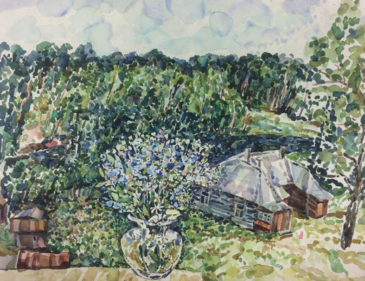 Landschaft mit Vase, Alexandr Zlatkin, undatiert, Aquarell, Papier, 41x32cm, ID1393