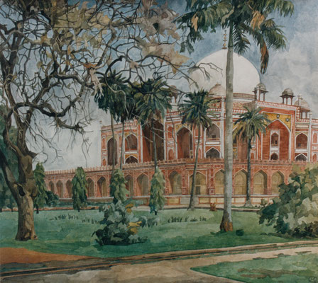 Delhi, Grab von Humayun, Otto Eberhardt, 2002, Aquarell, Papier, 75x68cm, ID1521