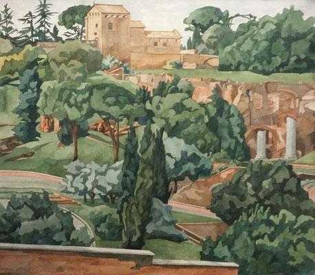 Palatin mit San Bonventura von Giardinetto Del Monte Oppio, Otto Eberhardt, 2005, Aquarell, Papier, 64x57cm, ID1453