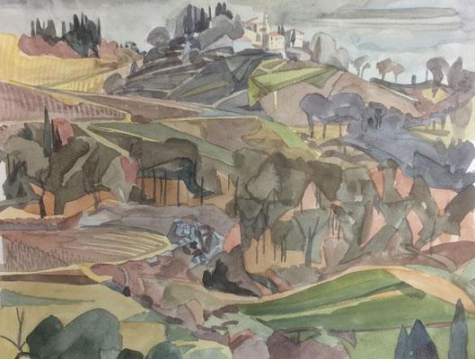 Lucarelli (Radda in Chianti), Otto Eberhardt, 1986, Aquarell, Papier, 41x31cm, ID1569