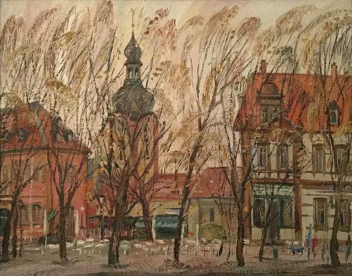 Schlossplatz und Hirsch, Alexandr Zlatkin, undatiert, Öl, Leinwand, cm, ID1493