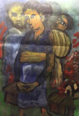 Blaue Frau, Shihab Vaippipadath, 2002, Acryl, Leinwand, 99x150cm, ID1605