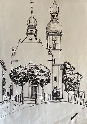 Sandhausen Kirche, Shihab Vaippipadath, undatiert, Zeichnung, Papier, 30,5x43cm, ID1738