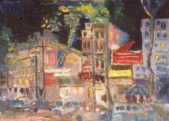 Moulin Rouge Paris, Shihab Vaippipadath, 1999, Öl, Leinwand, 25x18cm, ID1647