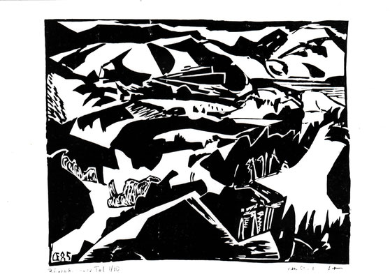 Bärenbrunner Tal sw, Otto Eberhardt, 1985, Holzschnitt, Papier, 48x39,5cm, ID1272