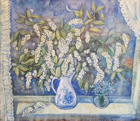 bird cherry, Alexandr Zlatkin, 2018, oil, canvas, 60x70, ID1150