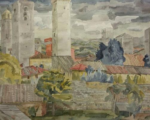 San Gimignano V, Otto Eberhardt, 1994, Aquarell, Papier, 65x53cm, ID1455