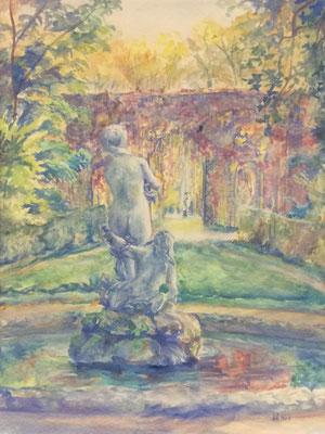 Schlosspark, Galatea, Otto Eberhardt, 1954, Aquarell, Papier, 41,5x54,8cm, ID1320