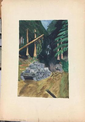 Panzer im Gefecht, Otto Eberhardt, 1942, Aquarell, Papier, 18x28cm, ID1356