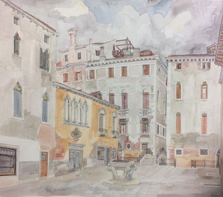 Campo S. M. Mater Domini II, Casa Barbaro, Otto Eberhardt, 1995, Aquarell, Papier, 54x47,4cm, ID1558