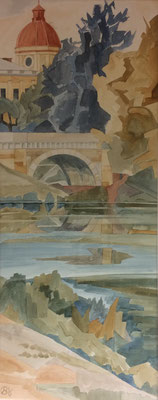Gattschina Schlosspark, Otto Eberhardt, 1996, Aquarell, Papier, 28x70cm, ID1399