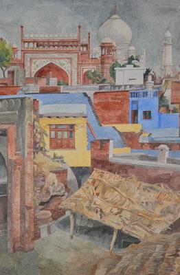 Agra, Taj Mahal von Kau Ban Moschee, Otto Eberhardt, 2000, Aquarell, Papier, 48x74cm, ID1445