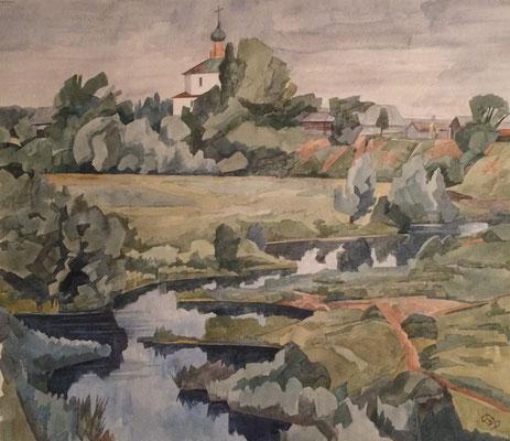 Karovniki Suzdal, Otto Eberhardt, 1999, Aquarell, Papier, 44x38,5cm, ID1702