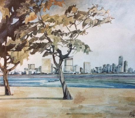 Bombay, Choupatti, Otto Eberhardt, 1999, Aquarell, Papier, 60x52cm, ID1631