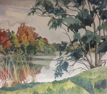 Altrhein, Rheininsel, Otto Eberhardt, 1999, Aquarell, Papier, 60x53cm, ID1519