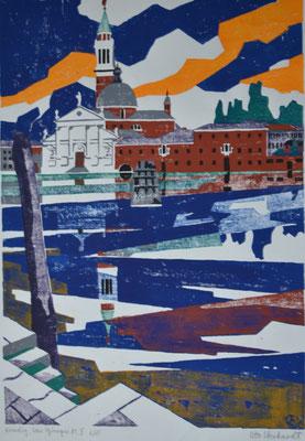 San Giorgio Maggiore, Otto Eberhardt, 2001, Holzschnitt, Papier, 50x73,5cm, ID1226