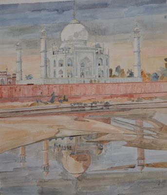 Agra Taj Mahal, Otto Eberhardt, 1997, Aquarell, Papier, 62x69cm, ID1081