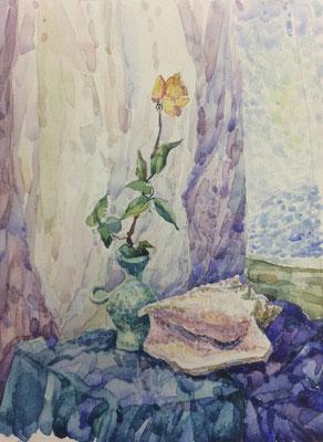 Stillleben mit Rose, Alexandr Zlatkin, undatiert, Aquarell, Papier, 18,5x24,5cm, ID1392