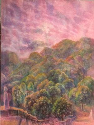 Purple Landscape, Vladimir Skripnik, 1999, Aquarell, Papier, 28x42, ID1141