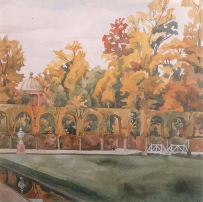 Schlosspark Orangerie und Apollo-Tempel, Otto Eberhardt, 1999, Aquarell, Papier, 66x66cm, ID1154