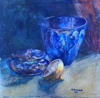 Glas und Zitrone, Otto Eberhardt, 1951, Aquarell, Papier, 30x30cm, ID1819