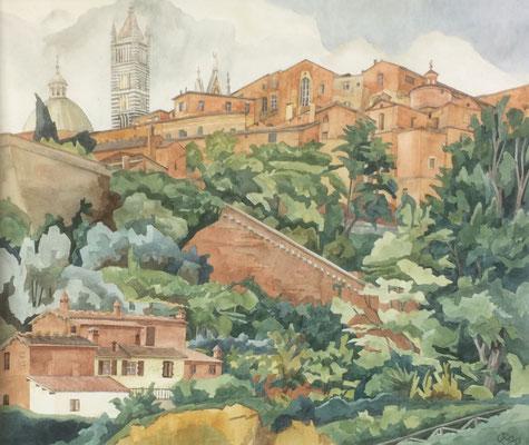 Siena Dom von V Esterna die Fontebranda, Otto Eberhardt, 1999, Aquarell, Papier, 64x54cm, ID1198