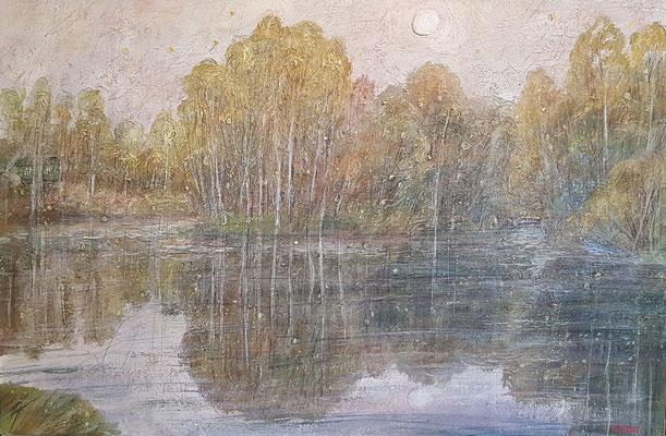 Lake in Fog, Alexandr Zlatkin, 2012, Öl, Leinwand, 60x90, ID1152