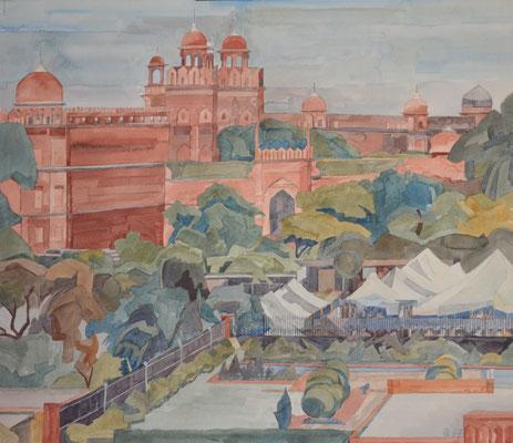 Delhi Red Fort Südtor v Jama Masjid, Otto Eberhardt, 1997, Aquarell, Papier, 60x53cm, ID1080