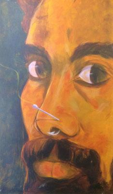 Portrait mit Angelhaken, Shihab Vaippipadath, 2000, Acryl, Leinwand, 69x118cm, ID1280
