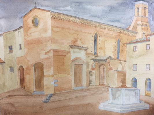S. Gimignano, S. Agostino, Otto Eberhardt, 1993, Aquarell, Papier, 63,5x48cm, ID1565