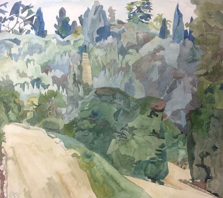 Florenz, Giardino di Boboli v. Cafehaus, Otto Eberhardt, 1995, Aquarell, Papier, 60x52,5cm, ID1537